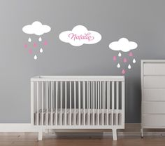 Custom Name Decal  Baby Girls Name  Clouds by CherryWalls, $39.00
