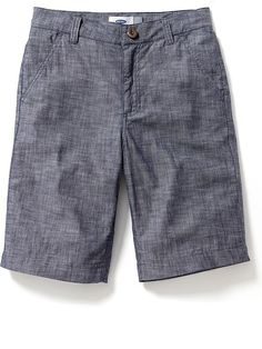 Flat-Front Chambray Shorts for Boys