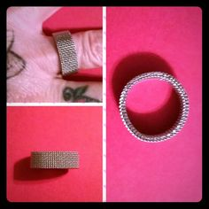 Stainless steel mesh ring This is just a cool ring....most mesh rings are sterling silver and begin to tarnish and lose their luster....stainless steel won't tarnish and won't turn your finger green. FREE with any bundle. Jewelry Rings
