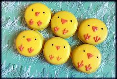 Easter chick peeps yellow chocolate covered Oreo cookies - 1 dozen in box…