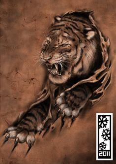 ☆ tIgErRr :¦: Art By ~Tylerrthemesmer ☆ Lion Forearm Tattoos, Wolf Tattoos, Tiger Tattoo, Lion Tattoo, Tattoo Design Drawings, Tattoo Sketches, Japanese Mask Tattoo, Tattoo Oriental, Ripped Skin Tattoo
