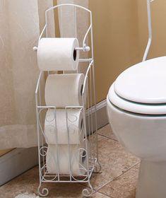 New White Scrolled Toilet Tissue Storage Rack Holder