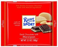 Ritter Sport, Dark Chocolate with Marzipan, 3.5-Ounce Bars.  Vegan!