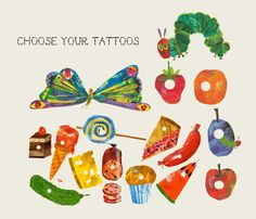 hungry caterpillar temporary tattoo party favor bags with caterpillar or butterfly and food. $25.00, via Etsy.