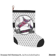Drummer Girl Christmas Stocking Drummer Christmas