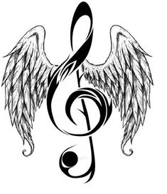 Music Notes Hearts and Rose | MUSICNOTE WITH ANGELWINGS (LARGE) More
