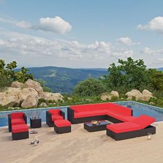 Fusion 12 Piece Outdoor Patio Sectional Set in Espresso Red