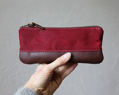 Pencil Pouch in Stone Waxed Canvas and Leather // by infusion