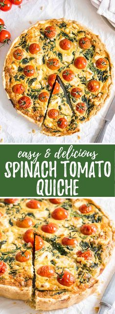 Spinach Tomato Quiche is perfect for breakfast or brunch! Super easy to make and loaded with flavor. Delicious warm, room temp, or chilled!