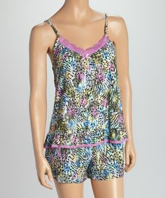 Take a look at the Kathryn Lavender & Green Jungle Cami & Boxers Pajama Set - Women on #zulily today!