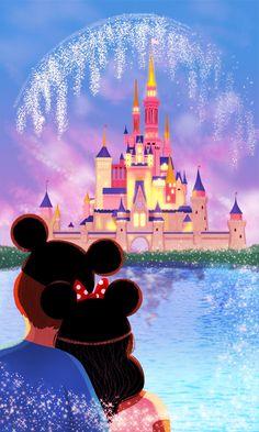 Wonderground Disney Parks Our Happy Place Postcard Nidhi Chanani Disney Pixar, Animation Disney, Walt Disney World, Disney Fanatic, Disney Addict, Disney Artwork, Disney Drawings, Disney Dream, Disney Magic