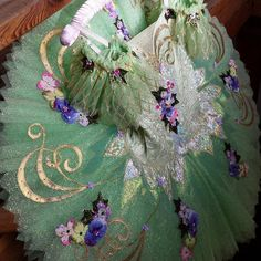 green and gold flower embellished competition tutu