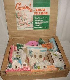 Vintage Christmas Putz Houses Trees in The Original Box | eBay
