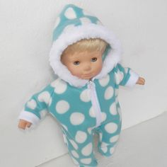 """This is for one snowsuit I make doll clothes to fit the 15"""" boy, girl, and twin dolls and fit other similar sized 14-16"""" dolls. I also make a few doll clothes to fit the 18"""" dolls. - turquoise and white polar fleece. 