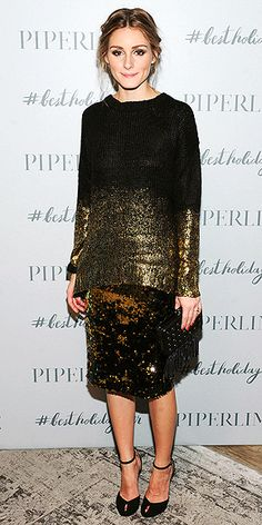 paring a Piperlime Collection gold ombré sweater with a scattered-sequin pencil skirt, then topping the whole thing with a tuxedo blazer and braids (dec 2014)