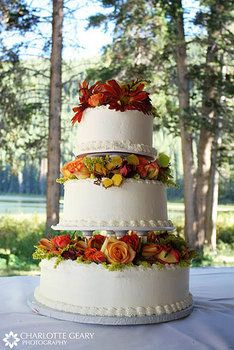 Wedding, White, Cake, Red, Orange, Yellow