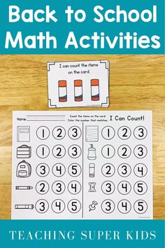 Back to school kindergarten math centers  Are you looking for some morning work tubs for August for your kindergarten students? August Math Centers are so much fun your students will think they are just playing! Print, cut, laminate and go!  These centers are themed with back to school supplies and basic shapes. Very easy to incorporate and teach your Kinders how to use centers! Now includes a full black and white copy for those that need to conserve ink! Back To School Worksheets, Kindergarten Math Worksheets, Kindergarten Classroom, Math Activities, Math Games, Teaching The Alphabet, Teaching Math, Teaching Ideas, Community Helpers Preschool