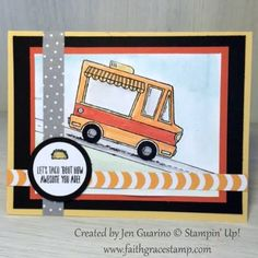 Adorable Tasty Trucks from Stampin' Up! Colored with markers and blender pens. Find more inspiration at www.faithgracestamp.com
