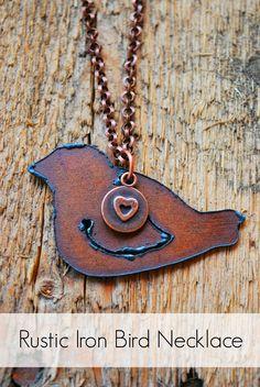 #Rustic Iron Bird Necklace Tutorial with pendant from www.happymangobeads.com