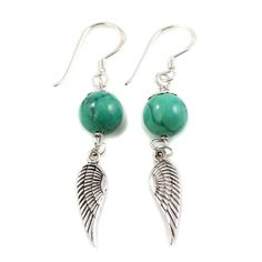 Turquoise and Silver Angel Wing Earrings by Charlotte's Web Angel Wing Earrings, Drop Earrings, Charlottes Web, Angel Wings, Handmade Jewelry, Brass, Turquoise, Gemstones, Sterling Silver