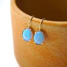 14K Gold Earrings, Blue Opal Earrings, Opal Drop Earrings,Opal Earrings,Gold Drop Earrings,Solid Gold, Gift For Her,Blue Opal drop earrings