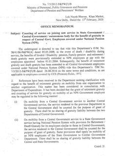 Benefit of gratuity in respect of Central Government Employees counting of service on joining new service covered under National Pension System ( Central Government, State Government, Central States, New Market, Constitution, Counting, Respect, Benefit, Public