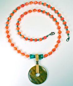 Orange & Turquoise beaded necklace.