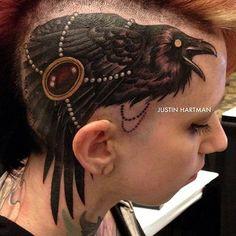 Ladies buzz cut with scalp tattoo! #InkedMagazine #bird #tattoo