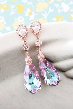 Wasima - This beautiful pair of earrings is made of Vitrail Light Purple Faceted Teardrop Crystal with cubic zirconia rose gold plated bail, cubic zirconia crystal connector, on teardrop earrings.    925 sterling silver ear posts. Nickel Free.      ✦ Earrings: 2.5 inch  ✦ Swarovski Crystal:  - Vitrail Light Purple ( as shown in pictures)  - Bermuda Blue  - Clear    ✦ All items are beautifully gift wrapped. Perfect to keep or give.    ✦ Thank you for visiting / shopping at Color Me Missy!...