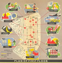 USSR Pavilion, first floor map  Worlds Fair