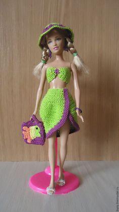 Купить Пляжный ансамбль - ярко-зелёный, одежда для кукол, кукольная одежда, наряды для барби