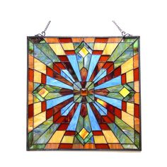 Tiffany Stained Glass Window Panel 24 Inches Mission Design Handcrafted Art New #TiffanyStainedGlassWindowPanel