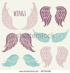 Set of angel wings. - stock vector                                                                                                                                                                                 Más