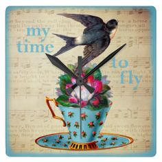SOLD! Vintage Teacup, Roses, and Flying Swallow Wallclock by VintageArtBazaar. #tea #clocks #vintage #swallows #inspirational http://www.zazzle.com/vintageartbazaar*