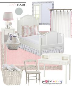 @MommasGoneCity's Daughter's Room Makeover Design Board - beautiful pink and gray big girl room! #kidsroom