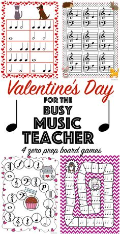 Valentine's Day Music Games: 4 no prep board games for your beginning piano students
