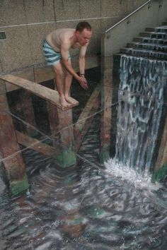 Eye-Popping Sidewalk Paintings  Pavement artist Julian Beever is a master of illusions - This guy is AMAZING!!