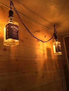 63 new Ideas for bar lighting ideas man caves jack daniels Lampe Jack Daniels, Jack Daniels Bottle, Liquor Bottle Crafts, Home Bar Designs, Man Cave Home Bar, Cave Bar, Bottle Lights, Bottle Lamps, Bottles