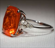 Mid-Century Huge Fire Opal and Diamond Ring in Platinum