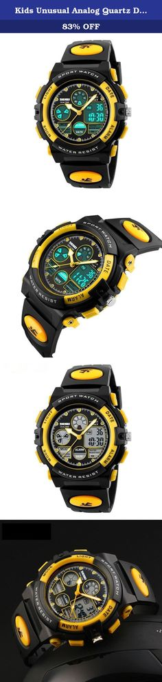 Kids Unusual Analog Quartz Dual Time Zone Digital Outdoor Sport Waterproof PU Resin Band Watch with Alarm, Chronograph, EL Back Light, Classic Design Calendar Date Window, for Boys Girls - Yellow. Product Description Highlights: • Japanese Quartz and Electronic Movement: Dual Time Zone, Provide precise and accurate time keeping • High Quality PC Material case and Stainless Steel case back • High Quality Germany Imported PU Resin Strap • Highly Transparent Resin Glass, not easy to wear •...