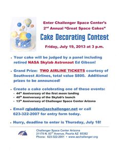 """Cake decorators in the Phoenix area! Enter our 2nd Annual """"Great Space Cakes"""" contest for a chance to win (2) Southwest Airlines tickets, valued at $800.  Meet a real astronaut, too!"""