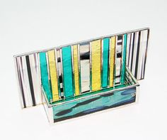 Unique stained glass business card holder--contemporary and great colors!
