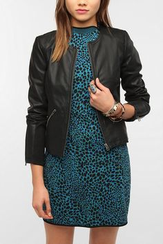 Sparkle & Fade Faux Leather Rib Mix Jacket Online Only