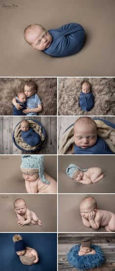 8 day old Casey and his super cute studio newborn photo shoot using a blue and brown theme. Sunny S-H Photography Winnipeg