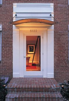 Front door awning, front door canopy и exterior doors. Front Door Overhang, Front Door Porch, Patio Doors, Front Doors, Front Entry, Front Stoop, Garage Doors, Copper Awning, Metal Awning