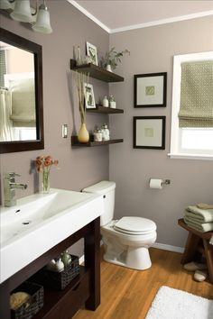 Shelves above the toilet & wall color