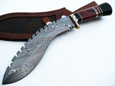 Gurkha Khukuri Custom Hand Made Damascus Steel by DZKKDAMASCUS, $70.00