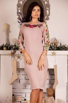 """Купить Платье """"Мастерица"""" - розовый, вязаное платье, платье с вышивкой, купить платье с вышивкой"""