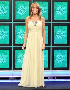 """CACHE: Yellow chiffon gown w/silver rhinestone inset v-front, narrow straps, bodice diagonally shirred in two directions, 3"""" horizontally pleated waist, flared skirt 