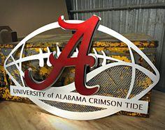 Just looks cool! Need UK University of Alabama Aluminum Football from Hex Head Art Alabama Football Team, College Football Teams, Crimson Tide Football, University Of Alabama, Alabama Crimson Tide, Uofa Football, Alabama Vs, Football Signs, As Roma